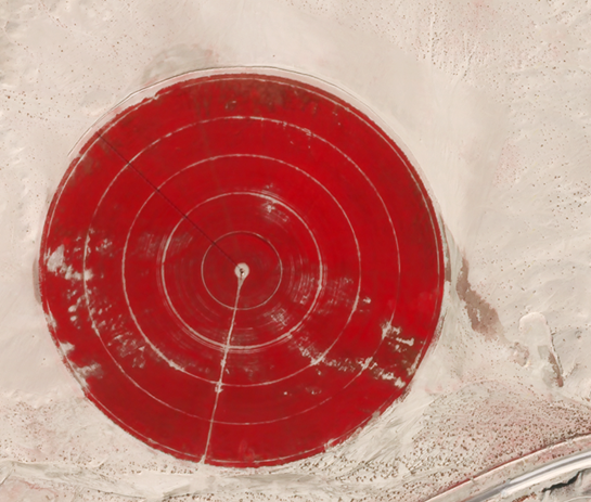 Crop pivot irrigation in Saudi Arabia. Image: Skybox Imaging