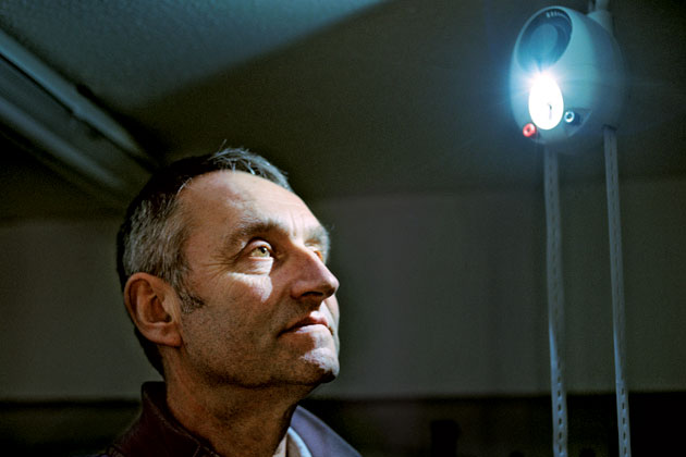 A photo taken by Spencer Murphy of Martin Riddiford and his invention, the GravityLight.