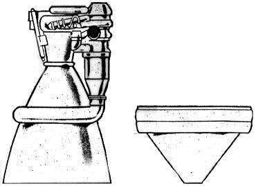 Conventional bell nozzle to the left compared with an aerospike nozzle to the right.