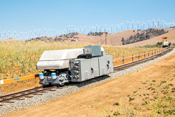 A pilot project in California demonstrates gravity storing excess electricity. Credit: ARES