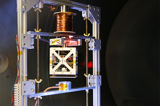 Acccion Systems's propulsion system under testing on a magnetically levitating stand. Credit: Accion Systems