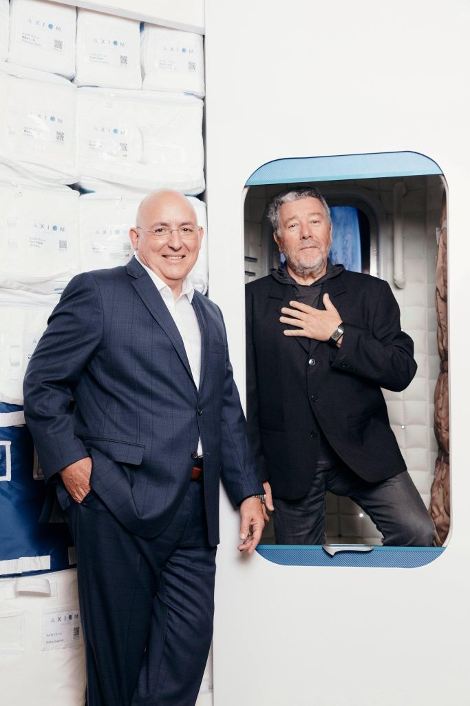 Mike Suffredini, left, with designer Philippe Starck, with their mockup. Credit: New York Times