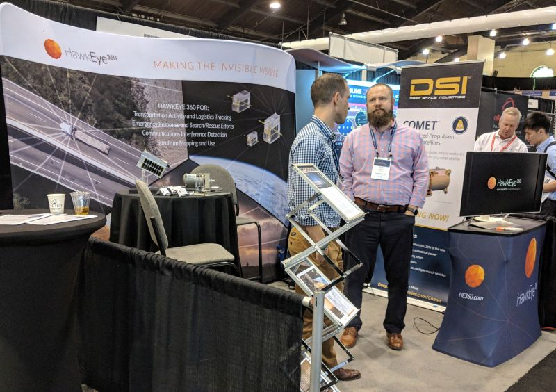 HawkEye 360 booth at new space conference in August 2018.